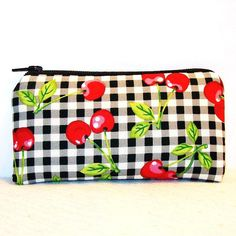 "Cherries & Gingham Cotton Padded Pipe Pouch 5.5"" / Glass Pipe Case / Spoon Cozy / Piece Protector / Pipe Bag / SMALL by PouchAPalooza on Etsy, $10.00"