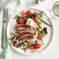 Grilled Tuna Over Green Bean, Tomato, and Chickpea Salad | CookingLight.com #myplate #veggies #dairy #protein