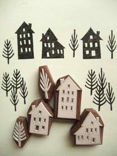 Winter, House, Tree - Hand Carved Rubber Stamp Idea