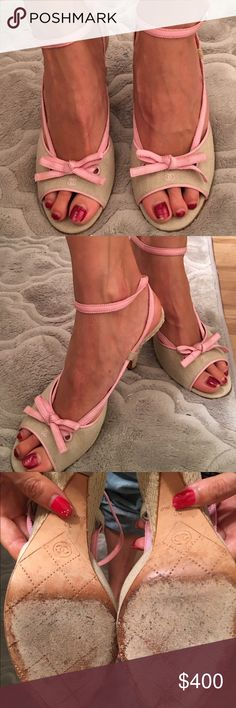 Chanel heels Chanel beige with pink accents size 38 price is firm CHANEL Shoes Heels