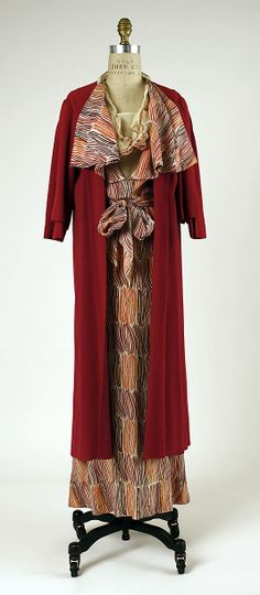 "1930-1935 Jean-Charles Worth dress and coat ensemble, French. Label:  ""J. Worth."" Via MMA."