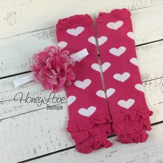 Pink and White Heart Ruffle bottom leg warmers, matching headband hair bow, infant toddler baby girl, Valentine's Day love hearts photo prop by HoneyLoveBoutique