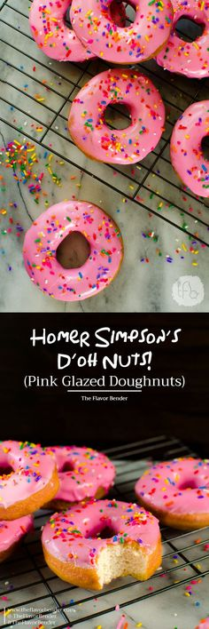 The Simpsons Doughnuts - These pink glazed doughnuts with sprinkles is Homer Simpsons favorite snack! & now you can make them at home with a FULL TUTORIAL to make perfect doughnuts everytime! Donut Recipes, Best Dessert Recipes, Baking Recipes, Sweet Recipes, Cake Recipes, Breakfast Recipes, Köstliche Desserts, Delicious Desserts, Doughnuts