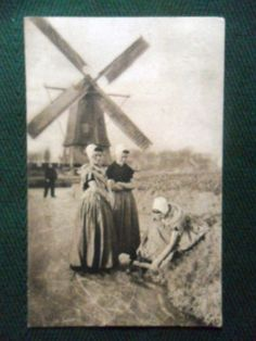 Very Old Dutch RP Postcard Posted 1911 Girls Skating