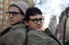 """Aaron Tveit and James Franco as Peter Orlovsky and Allen Ginsberg in """"Howl"""", by Rob Epstein and Jeffrey Friedman"""