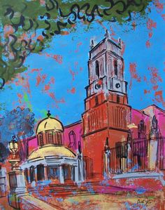 Mexican street in San Miguel church tower original by MyMexicanArt, $97.00