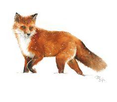Fox Walking on Snow - Watercolor Archival Print