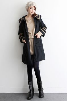 Sleek Balck Trench Coat We introduce you a new modern vintage♥ hARU style will turn your ordinary days into extraordinary!