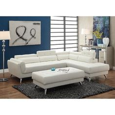 Poundex White Bonded Leather Sectional Ottoman Sofa Set - Sofa Set - Ideas of Sofa Set - Poundex White Bonded Leather Sectional Ottoman Sofa Set Price : Sectional Sofa Sale, White Sectional, Sectional Ottoman, Leather Sectional Sofas, Reclining Sectional, Modern Sectional, White Sofas, Leather Sofa, White Leather