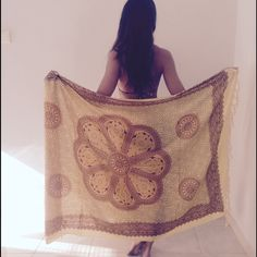 """Global goddess mandala sarong in mustard yellow Handmade in Bali, beautiful new mandala design sarong for 2016. Sarong tapestries are perfect festival essentials and can be used for home decor. Tan and yellow complimentary colors for a bold statement:) approximately size 36"""" by 72"""". Happy shopping! Handmade Accessories"""