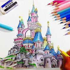 Inspiring images based on Disney characters. Inspiring images based on Disney characters. Castle Mural, Castle Painting, Disney Castle Drawing, Disney Drawings, Drawing Disney, Epic Drawings, Font Disney, Walt Disney Animation Studios, Beautiful Castles