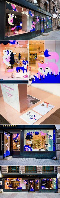 Minna Parikka's shop window display & illustration by Krista Kärki & Leena kisonen