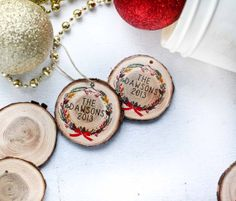 Customized Christmas Wreath Wood Slice Ornaments