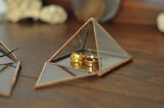 Pyramid Display Box - small glass pyramid - jewelry box - hinged - silver or copper - eco friendly 37, 29