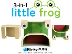 3-in-1 little frog by Klinko ... Read, Draw, Play & more on this new multi-functional eco-furniture that quickly & safely adapts to your child's needs and imagination!