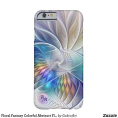 Floral Fantasy Colorful Abstract Flower Monogram Barely There iPhone 6 Case