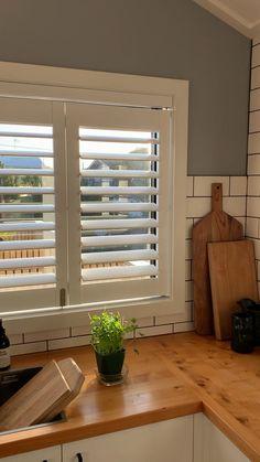 Tracked bi-fold shutters in kitchen Kitchen Room Design, Home Room Design, Home Decor Kitchen, Kitchen Interior, House Design, Modern Windows And Doors, Indoor Window Shutters, Indoor Shutters For Windows, Kitchen Window Blinds