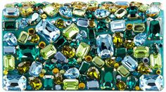 Prada Jeweled Satin Clutch Bag, Turquoise