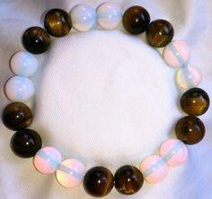 Opal Tigerauge Heilstein Perlen Armband 10mm