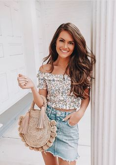 #springstyle spring outfit, floral outfit, off the shoulder top, denim skirt, denim skirt outfit, stylish outfit, easy spring outfit
