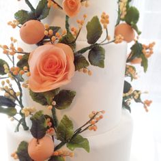 Wafer flower and clementine cake by www.thecaketress.ca