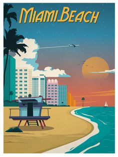 Vintage Miami Beach Poster by IdeaStorm Media.   Barnes Miami www.barnes-miami.com L'agence immobilière de luxe Barnes accompagne investisseurs, expatriés, entrepreneurs dans leur installation à Miami et dans le tout le sud de la Floride.