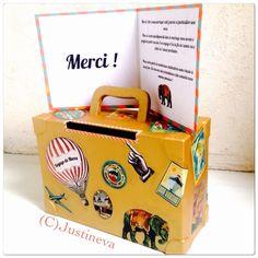Urne de mariage - merci - voyage de noce - cirque - vintage - doré - valise - wedding thank you suitecase gift circus carnival