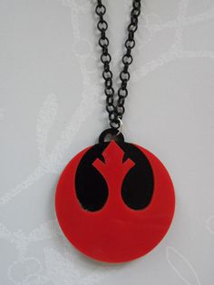 Rebel Alliance Red and Black Double Layer Laser Cut Acrylic Necklace £8.00 star wars