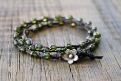Czech Glass Wrap Bracelet - Waxed Linen Beaded Bracelet Finished with a Leather and Thai Silver Flower Clasp. $32.00, via Etsy.