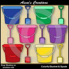 Free Bucket & Spade clip art in 11 colors