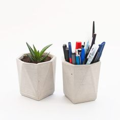 Modern concrete geometric pot – pen holder and planter – CROWDYHOUSE