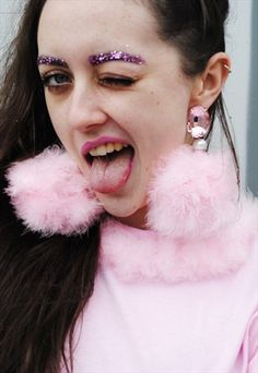GIANT PINK FLUFFY BALL EARRINGS WITH PINK GEMS