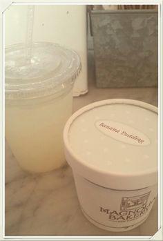 Banana Pudding and fresh lemonade from #MagnoliaBakery #bleekerstreet #bananapudding #freshlemonade #nyc #treats