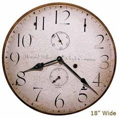 """Antique Reproduction beautifully produced with fade-resistant inks printed on a flat, open face 1/4' panel. This 18"""" Open Hand, antique dial is carefully mounted on laser cut, 1/4"""" thick, panel bases and feature antique open black hands and a quartz movement. Second track and dual hour track movement. <br /><strong>Diameter 18""""</strong>"""