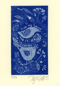 etching From my house  blue birds by mariannjohansenellis on Etsy, $35.00