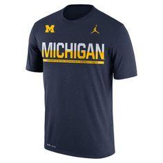 24cdadb36edf Mens T-Shirts Jordan University of Michigan Football Navy Dri-FIT Legend  Staff Sideline Tee