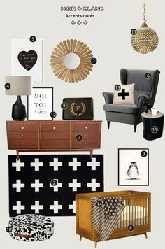 Black and white nursery - gold