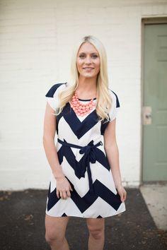 Magnolia Boutique Indianapolis - Chevron Tie Waist Dress-Navy, $36.00 (