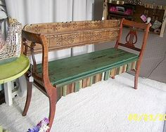 Dishfunctional Designs Upcycled: New Uses for Old Chairs -  Neat bench made from two former chairs and part of a headboard by Sharon S