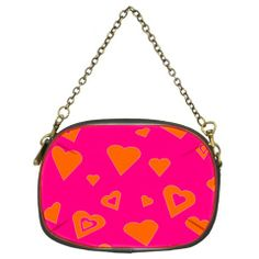 """Super Hot Pink And Orange Hearts"" Chain Purse (Two Sided) by khoncepts.com  $30.49"