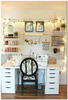 37 Astonishing Pegboard Design Ideas For All Your Needs To Try Asap - Pegboard is a great material for keeping tools, accessories, gadgets and other supplies handy and well-organized. Because you can customize a pegboard. Sewing Room Design, Craft Room Design, Sewing Spaces, Home Design, Craft Space, Sewing Studio, Design Ideas, Small Sewing Space, Space Crafts