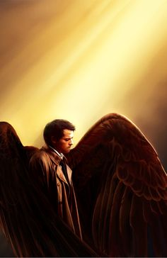 Castiel w/Wings Supernatural Painting 11x17  Print