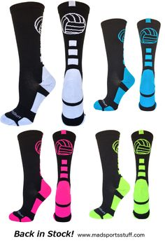 MadSportsStuff Volleyball Logo Crew socks are back in stock!