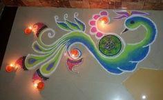 Peacock Corner Rangoli Designs