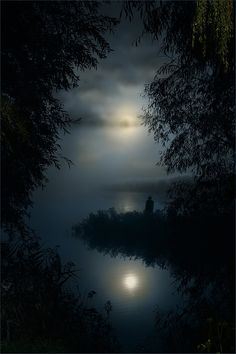 Peaceful water in the moonlight ...put curser/pointer on pic and you see twinkle lights in the trees  :)