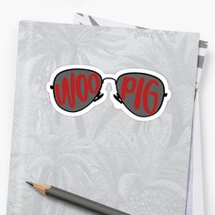 """""""Woo Pig Sunglasses"""" Stickers by Riley Doyle Iphone Wallet, Iphone Cases, University Of Arkansas, V Neck T Shirt, Classic T Shirts, Stickers, Sunglasses, Iphone Case, Sunnies"""