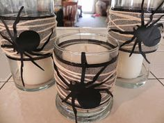 The Messy Roost: Halloween Spider Candles - Dollar Store Craft