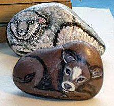 Farm animal painted rocks
