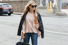 Jenna Crandall from Lunchpails and Lipstick with Casual Holiday Looks in the perfect ruffle top in blush with a black leather jacket. Love it paired with these black heels and this awesome leather tote.