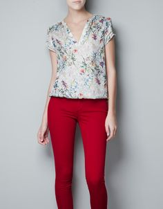 BLUSA ESTAMPADO FLORES - Camisas - Mujer - ZARA